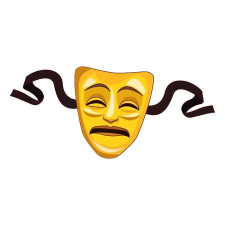tragedy theater mask icon over white background, vector illustration