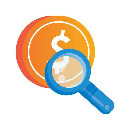 search magnifying glass with coin dollar vector illustration design