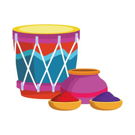 drum instrument and bowl with holi powder over white background, vector illustration