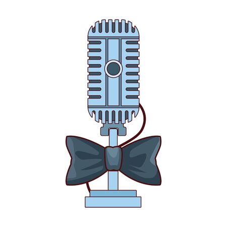 microphone with bow tie icon over white background, vector illustration
