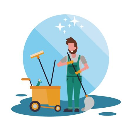 housekepping male worker with mop character vector illustration design Ilustracja