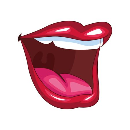 female mouth icon over white background, colorful design, vector illustration