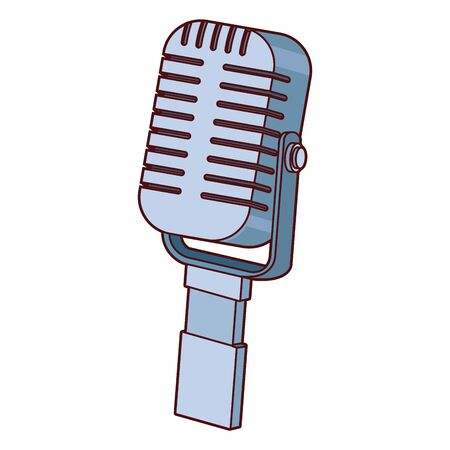 retro microphone icon over white background, colorful design, vector illustration