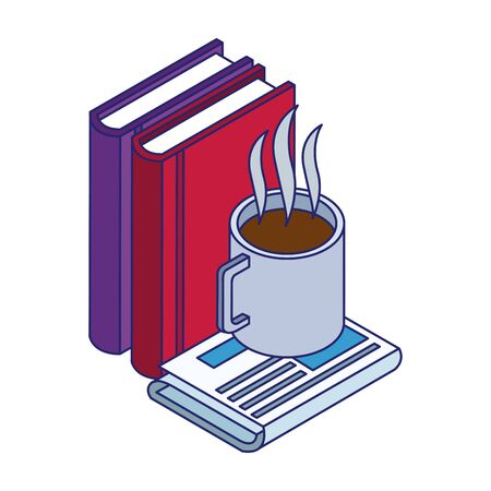books and coffee mug on newspaper over white background, vector illustration