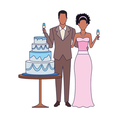 married couple and wedding cake icon over white background, vector illustration