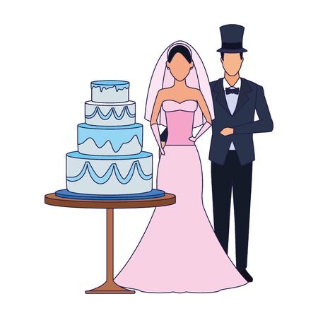 avatar married couple standing around the wedding cake icon over white background, vector illustration Ilustrace