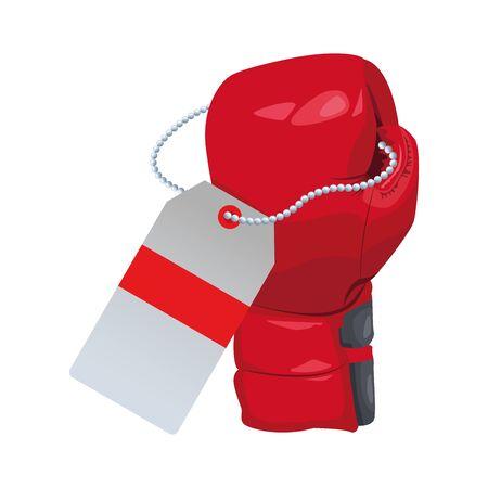 boxing glove with price tag icon over white background, vector illustration Archivio Fotografico - 138153117