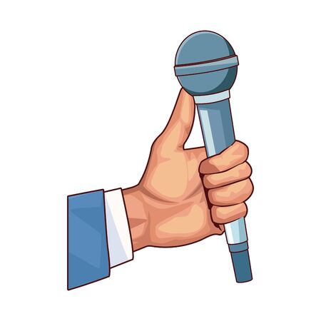 hand holding a microphone icon over white background, colorful design, vector illustration