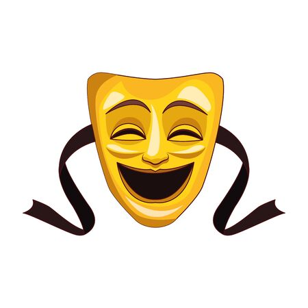Comedy theater mask icon over white background, colorful design, vector illustration 일러스트