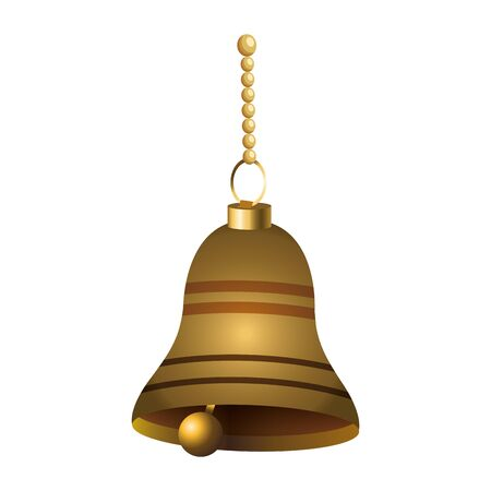 golden bell hanging icon over white background, vector illustration Ilustrace