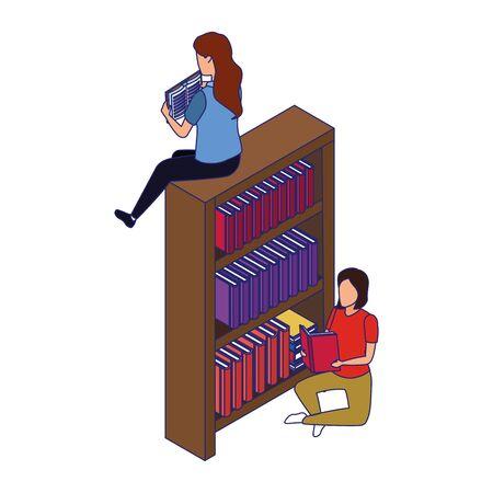 women reading books sitting around of bookshelf over white background, vector illustration
