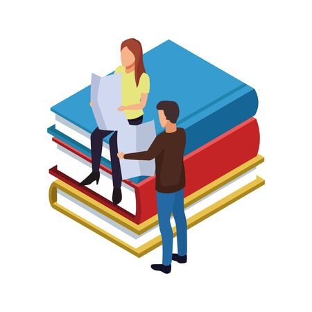 books and people reading around over white background, vector illustration