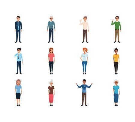 cartoon people standing icon set over white background, flat design , vector illustration Archivio Fotografico - 138188563