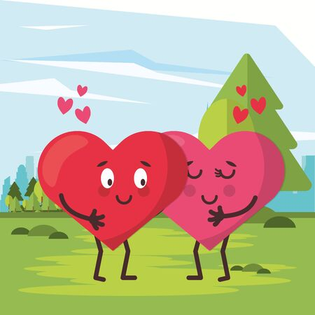 hearts lovers couple characters in the field vector illustration design