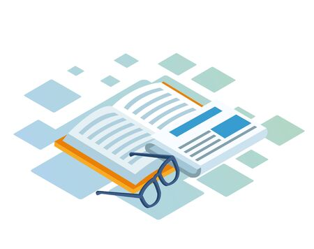 isometric design of book, newspaper and glasses over white background, vector illustration Ilustrace