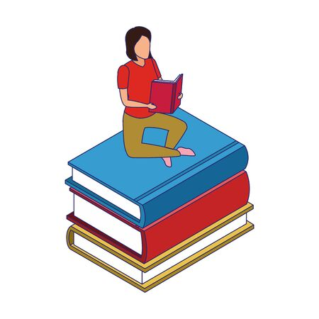 woman reading a book sitting on stack of books over white background, vector illustration