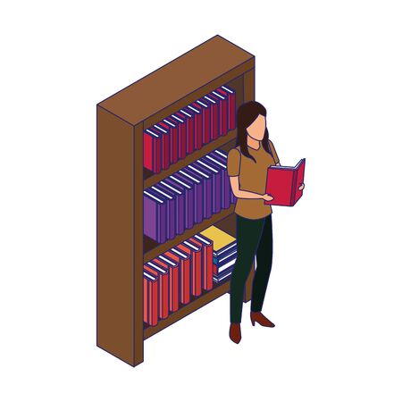 bookshelf and woman standing reading a book over white background, vector illustration Ilustrace