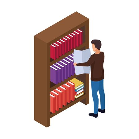 man reading a newspaper and bookshelf over white background, vector illustration Ilustrace