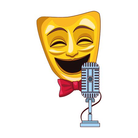 theater mask with retro microphone icon over white background, colorful design, vector illustration Ilustração