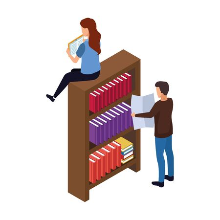 woman sitting on bookshelf and man reading a newspaper over white background, vector illustration