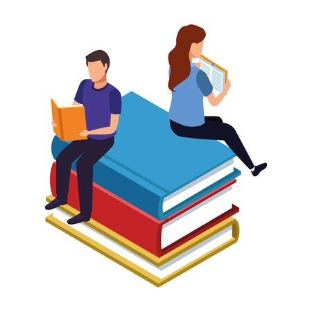woman and man reading a books sitting on big books over white background, vector illustration Stock Vector - 138193615