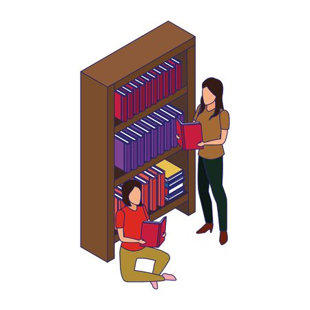 bookshelf with women reading books around over white background, vector illustration