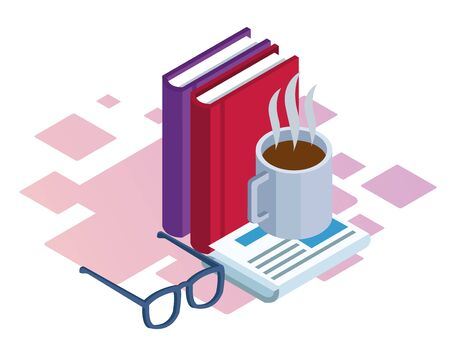 books, coffee mug and glasses over white background, colorful isometric design, vector illustration