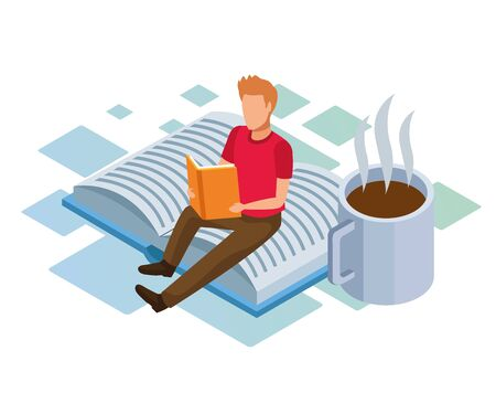 coffee mug and man reading a book sitting on big book over white background, colorful isometric design, vector illustration