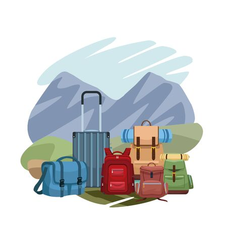 traveler backpacks and bags over landscape and white background, colorful design, vector illustration
