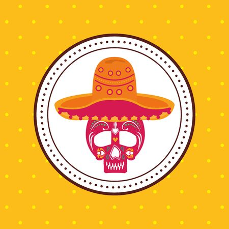 mexican culture hat with skull head vector illustration design