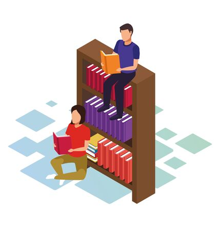 isometric design of man sitting on bookshelf and woman reding a book over white background, vector illustration