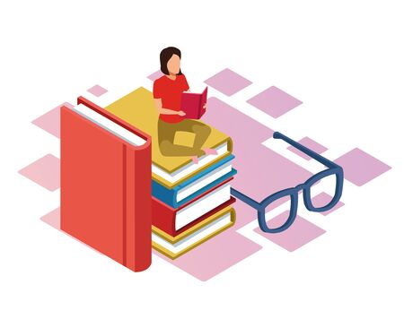 glasses and woman reading a book sitting on stack of books over white background, colorful isometric design, vector illustration