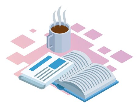 coffee mug, newspaper and book over white background, colorful isometric design, vector illustration