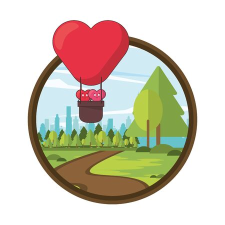 hearts lovers couple in balloon air hot characters vector illustration design Ilustrace