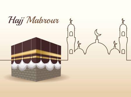 hajj mabrur celebration with mosque scene vector illustration design