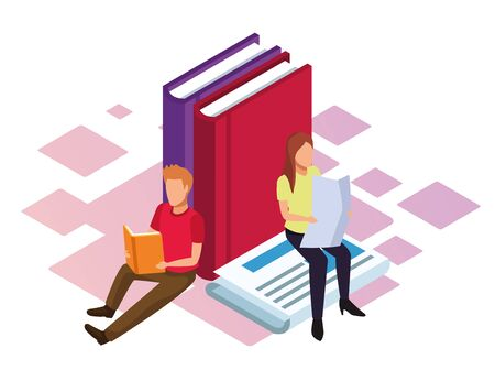 isometric design of big books and woman and man reading over white background, vector illustration