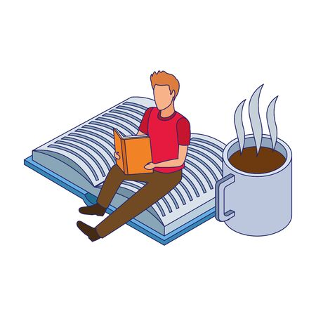man reading a book and coffee mug over white background, vector illustration