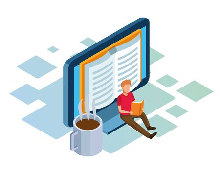 isometric design of computer, coffee mug and man sitting and reading a book over white background, vector illustration