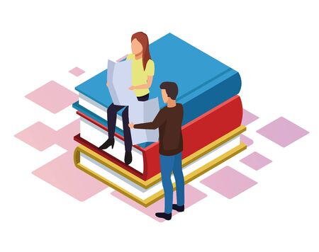 isometric design of woman and man reading newspaper around stack of books over white background, vector illustration