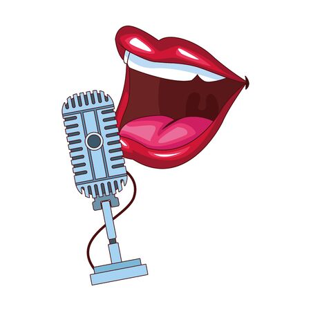 retro microphone and comedian mouth icon over white background, colorful design, vector illustration