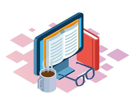 coffee mug, book and computer with book on screen over white background, colorful isometric design, vector illustration