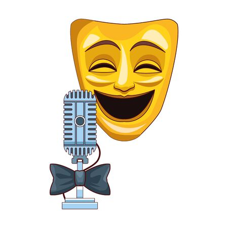 Comedy theater mask and retro microphone icon over white background, colorful design, vector illustration