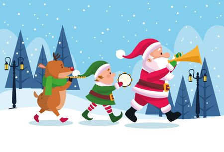 merry christmas card with characters playing instruments vector illustration design Standard-Bild - 138157246