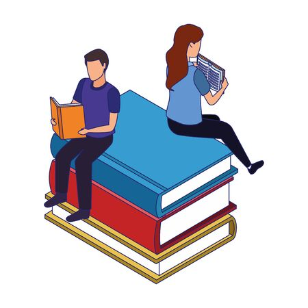 woman and man reading a books sitting on big books over white background, vector illustration