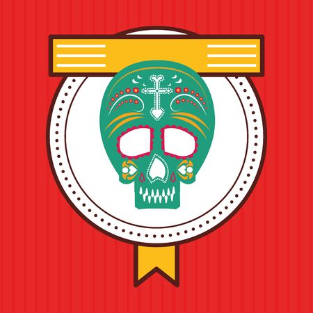 mexican skull mask culture seal stamp vector illustration design Ilustrace
