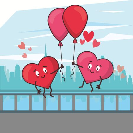 hearts lovers couple characters in the city vector illustration design Ilustrace