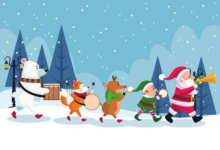 merry christmas card with characters playing instruments vector illustration design Standard-Bild - 138159558