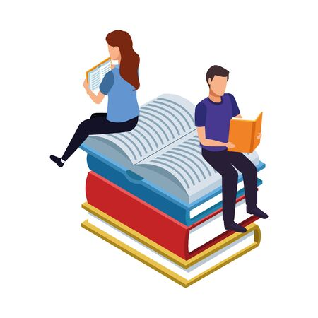 woman and man reading sitting on big books stack over white background, vector illustration
