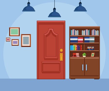 office scenery with library and door, colorful design , vector illustration