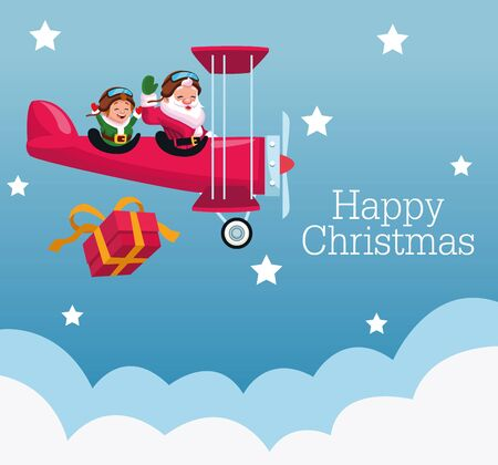 merry christmas card with santa claus and elf in airplane vector illustration design Standard-Bild - 138161610